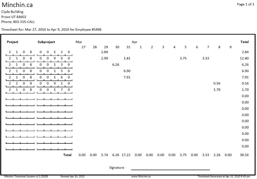 Minchin Timesheet System Version1.1